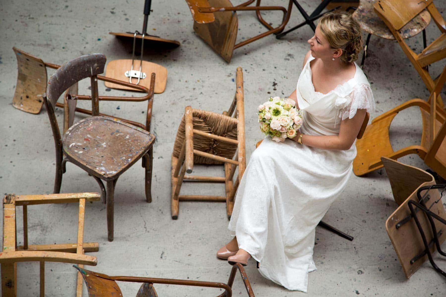Hochzeitsfotografie mit Brautpaarshooting in der Kunstakademie Trier