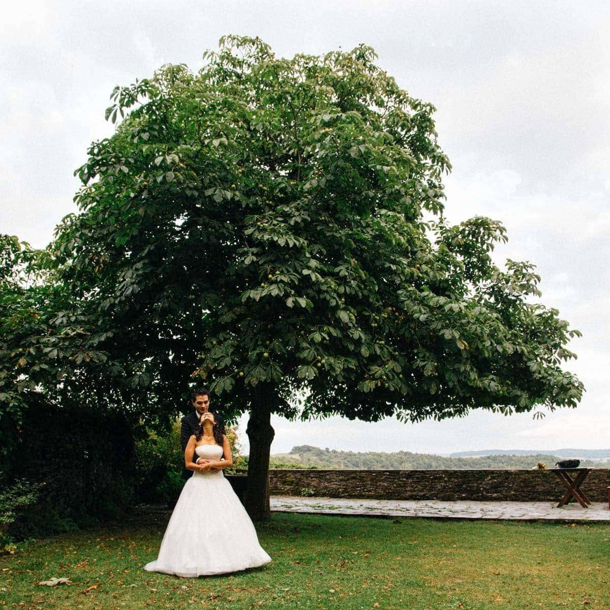 Fotografie eines Brautpaares unter einem blühenden Ahornbaum