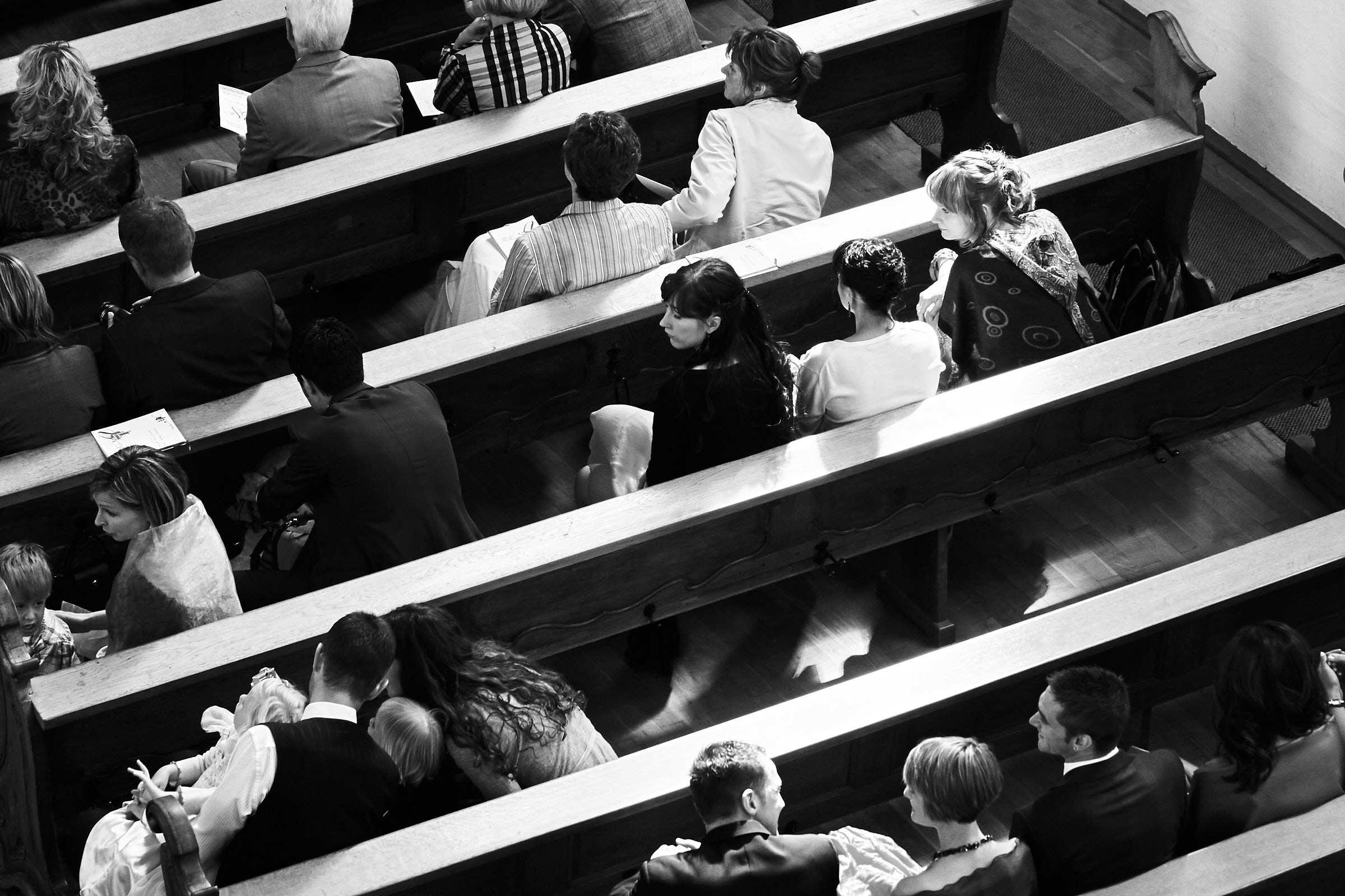 Schwarz Weiß Foto einer Trauung in der St. Paulin Kirche Trier